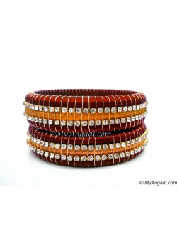 Maroon Colour Silk Thread Bangles-Triple Set