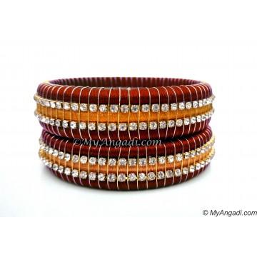 Maroon Colour Silk Thread Bangles-Triple Set