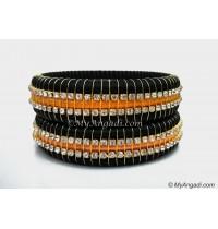 Black Colour Silk Thread Bangles-Triple Set