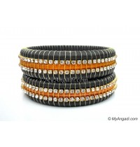 Grey Colour Silk Thread Bangles-Triple Set