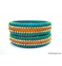 Turquoise Blue Colour Silk Thread Bangles-Triple Set