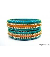 Turquoise Blue Colour Silk Thread Bangles-Triple Set
