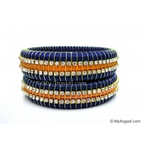 Dark Blue Colour Silk Thread Bangles-Triple Set