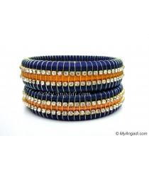 Dark Blue Colour Silk Thread Bangles-Triple Set