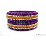 Purple Colour Silk Thread Bangles-Triple Set