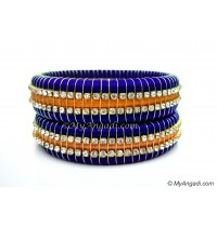 Royal Blue Colour Silk Thread Bangles-Triple Set