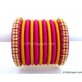 Purple Silk Thread Bangles-11 Set