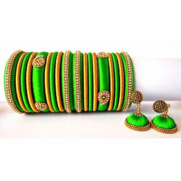 Lime Green Grand Wedding Silk Thread Bangle Set with Jhumka Earrings