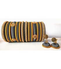 Grey Grand Wedding Silk Thread Bangle Set with Jhumka Earrings