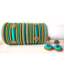 Turquoise Blue Grand Wedding Silk Thread Bangle Set with Jhumka Earrings