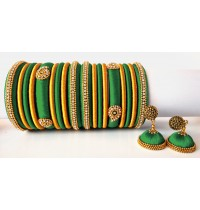 Teal Green Grand Wedding Silk Thread Bangle Set with Jhumka Earrings