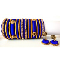 Royal Blue Grand Wedding Silk Thread Bangle Set with Jhumka Earrings