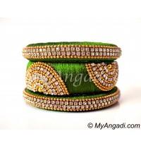 Lime Green Grand Kada Bridal Silk Thread Bangle Set
