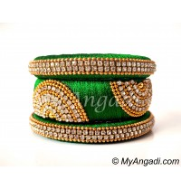 Dark Green Grand Kada Bridal Silk Thread Bangle Set
