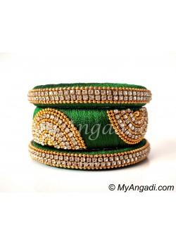Green Grand Kada Bridal Silk Thread Bangle Set