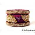 Magenta Grand Kada Bridal Silk Thread Bangle Set