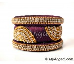 Maroon Grand Kada Bridal Silk Thread Bangle Set