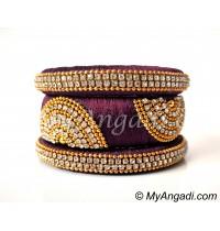 Maroon Grand Kada Bridal Silk Thread Bangle Set