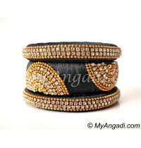 Grey Grand Kada Bridal Silk Thread Bangle Set