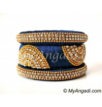 Dark Blue Grand Kada Bridal Silk Thread Bangle Set