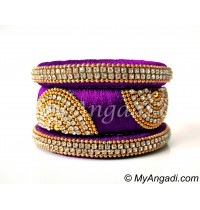 Purple Grand Kada Bridal Silk Thread Bangle Set