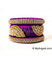 Purple Grand Kada Bridal Silk Thread Bangle Set