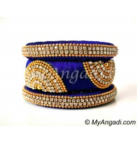 Royal Blue Grand Kada Bridal Silk Thread Bangle Set