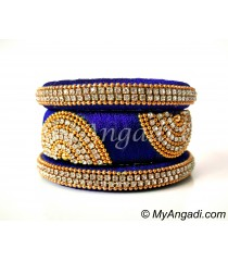 Royal Blue Grand Kada Bridal Silk Thread Bangle Set