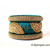 Teal Green Grand Kada Bridal Silk Thread Bangle Set