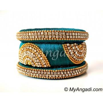 Teal Green Grand Kada Bridal Silk Thread Bangle Set