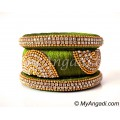 Olive Green Grand Kada Bridal Silk Thread Bangle Set