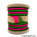 Lime Green - Pink Colour Grand Kada Bridal Silk Thread Bangle Set