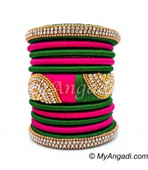 Dark Green - Pink Colour Grand Kada Bridal Silk Thread Bangle Set