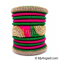 Green - Pink Colour Grand Kada Bridal Silk Thread Bangle Set
