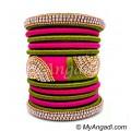 Olive Green - Pink Colour Grand Kada Bridal Silk Thread Bangle Set