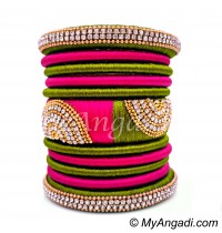 Olive Green - Pink Colour Grand Kada Bridal Silk Thread Bangle Set