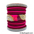 Magenta  - Pink Colour Grand Kada Bridal Silk Thread Bangle Set