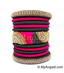 Grey - Pink Colour Grand Kada Bridal Silk Thread Bangle Set