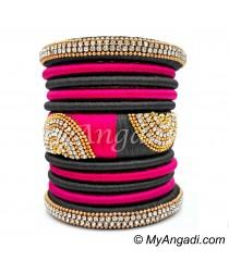 Grey - Pink Colour Grand Kada Bridal Silk Thread Bangle Set