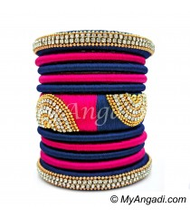 Dark Blue - Pink Colour Grand Kada Bridal Silk Thread Bangle Set