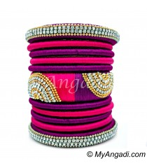 Purple - Pink Colour Grand Kada Bridal Silk Thread Bangle Set