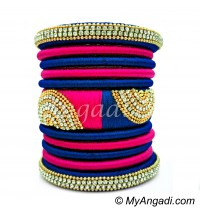 Royal Blue - Pink Colour Grand Kada Bridal Silk Thread Bangle Set
