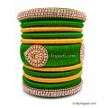 Lime Green with Gold Combination Grand Kada Bridal Silk Thread Bangle Set