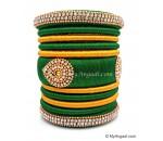 Dark Green with Gold Combination Grand Kada Bridal Silk Thread Bangle Set