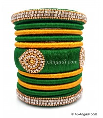 Dark Green with Gold Combination Grand Kada Bridal Silk Thread Bangle Set
