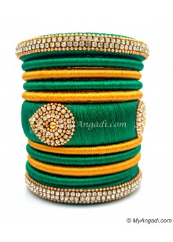 Green with Gold Combination Grand Kada Bridal Silk Thread Bangle Set