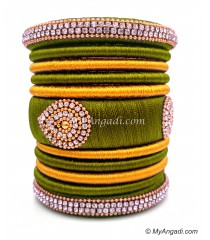 Olive Green with Gold Combination Grand Kada Bridal Silk Thread Bangle Set