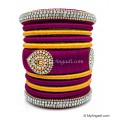 Magenta  with Gold Combination Grand Kada Bridal Silk Thread Bangle Set