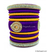 Violet with Gold Combination Grand Kada Bridal Silk Thread Bangle Set