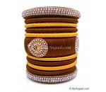 Kakki with Gold Combination Grand Kada Bridal Silk Thread Bangle Set